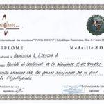 2015 Тунис Диплом золотая медаль Тунис, Гамидова А. Эседова А.Э.