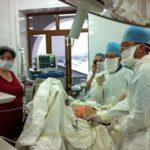 Совместная операция ( лапароскопическая эхинококкэктомия печени) с начальником МСЧ МВД по РД М.П.Магомедовым